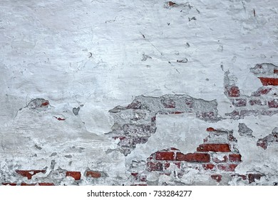 Red White Wall Background. Old Grungy Brickwork Horizontal Texture. Brickwall Backdrop. Structure With Broken Stucco And Plaster.