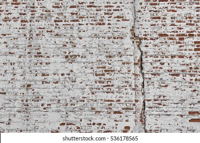 Red White Wall Texture. Old Cracked Brick Wall Horizontal Background. Brickwall Backdrop. White Red Stonewall Surface. Vintage Brickwork Structure With Peeled Plaster.