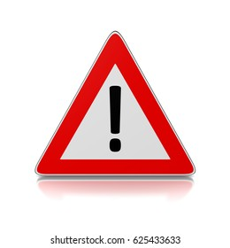 Red and White Warning Triangle Road Sign with Exclamation Mark on White Background 3D Illustration