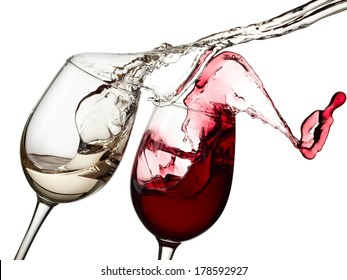 Red and white wine up