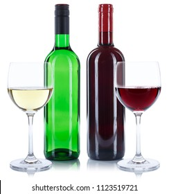 Red and white wine bottles beverage glasses square alcohol isolated on a white background