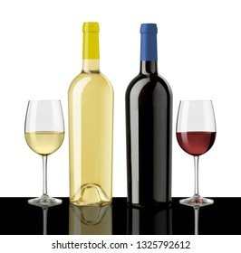 red and white wine bottles and glasses on black table, white background