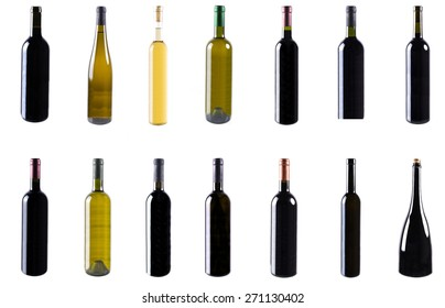 Red and white wine bottles isolated on white