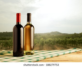 Red and white wine bottles standing on checked tablecloth and vineyard on background.