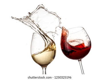 Red and white wine glasses up