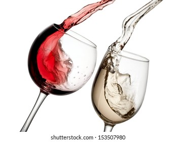 Red and white wine up from glasses