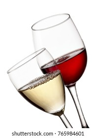 Red and white wine glasses, close up