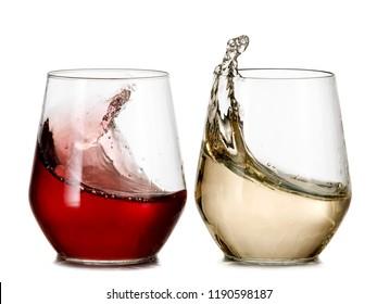 Red and white wine plash