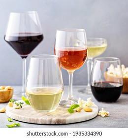 Red, white wine and rose in different glasses, variety of wine
