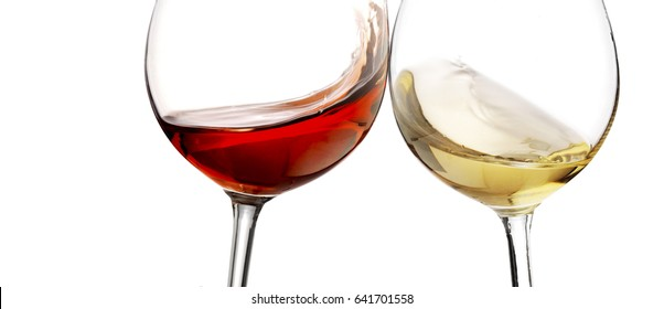 Red and white wine splash with white background, close up