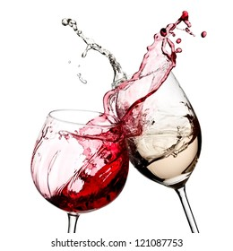 Red and white wine splash diagonal