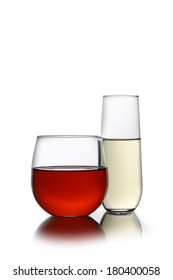 Red and white wine in stemless glasses cutout, isolated on white background