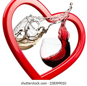 Red and white wine up through a heart