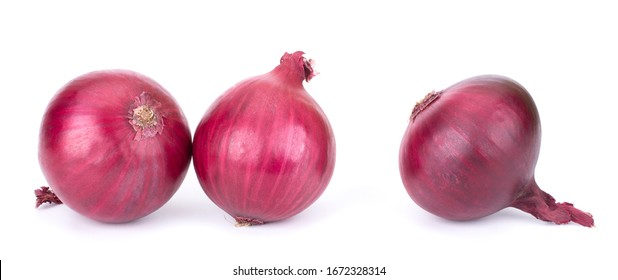 Red whole onion isolated on white background
