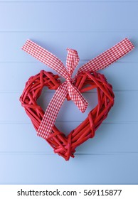 Red wicker heart on Valentine's Day. The 14th of February