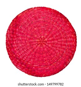 red wicker placemat isolated on white background