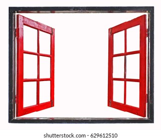 red window frames on white background