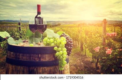 Rotwein mit Fass auf Weinberg in grüner Toskana, Italien
