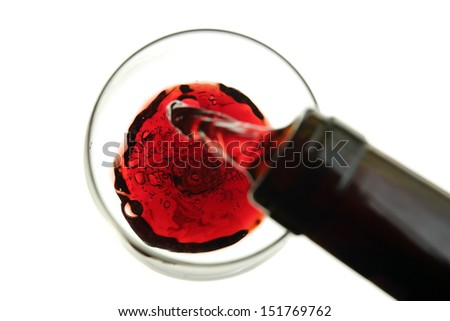 red wine being poured into a glass isolated on white-blurry movement