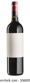 Red wine bottle with blank sticker isolated on white. High resolution.