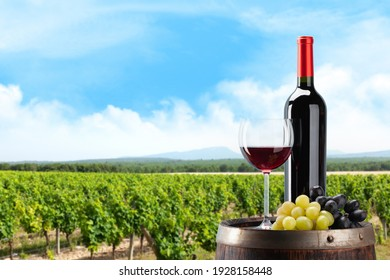 Red wine bottle, glass and grapes on wine barrel in front of landscape of vineyard. Sunny summer day. French countryside valley