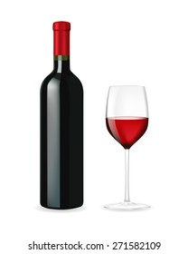 Red wine bottle with glass . Isolated on white background. Raster version