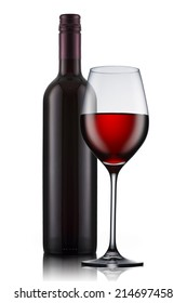 Red Wine bottle and glass on white background