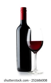 Red wine bottle with  glass on  white  background