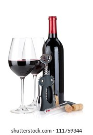 Red wine bottle, glasses, corkscrew, corks and thermometer. Isolated on white background
