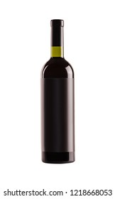 Red wine. Bottle of green glass with a blank black label on a white background.