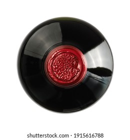 Red wine bottle with red head, top view