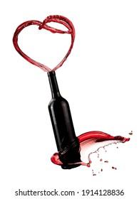 Red wine bottle heart splash, close up