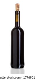 Red wine bottle isolated on white background