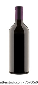 red wine a bottle isolated on white