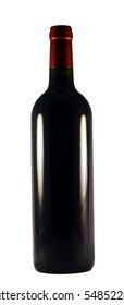 Red wine bottle, no label, isolated on white background by clipping path