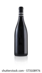 Red wine bottle with no trademarks on white background