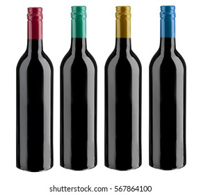 red wine bottle on white background with cliping path