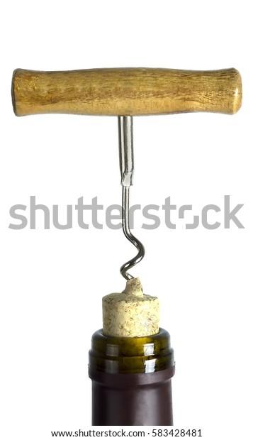 red wine bottle is opened corkscrew.