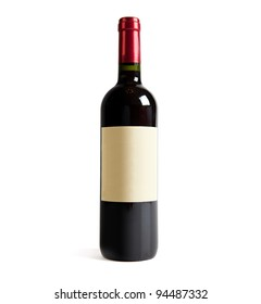 Red wine bottle, with real paper blank label. Isolated on white.