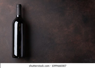 Red wine bottle. Top view with space for your text