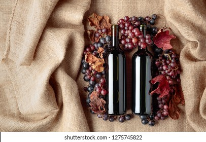Red wine bottles and fresh grapes with dried up vine leaves on burlap, top view.