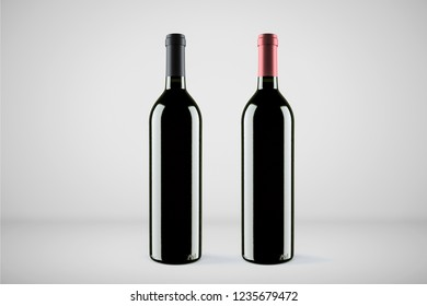 red wine and a bottles isolated on soft gray background.