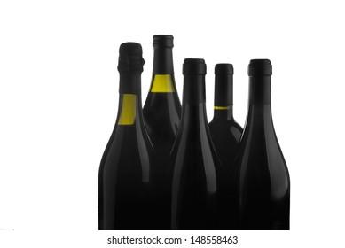 Red wine bottles on white background