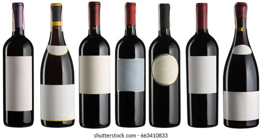 Red wine bottles set isolated on white