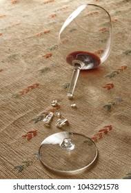Red wine in broken glass