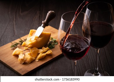 Red wine and cheese on the table