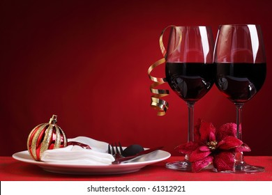 Red wine in christmas setting