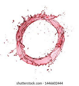 Red wine circle splash isolated on white background. Abstract closeup shape.