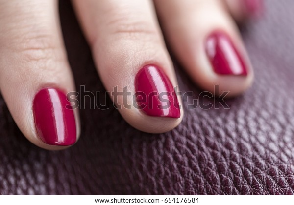 Red Wine Color Nails Manicure Leather Stock Photo Edit Now