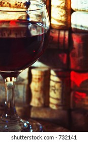 red wine with corks